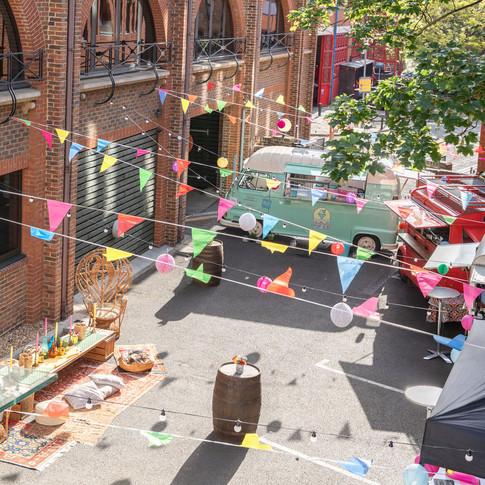 Transforming a courtyard into a Summer office festival