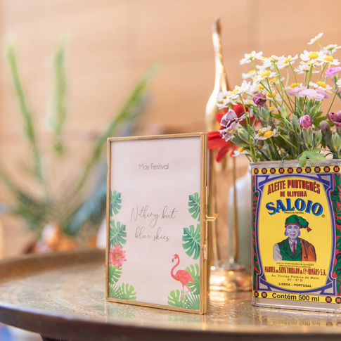 Vintage and eclectic props and colourful flowers