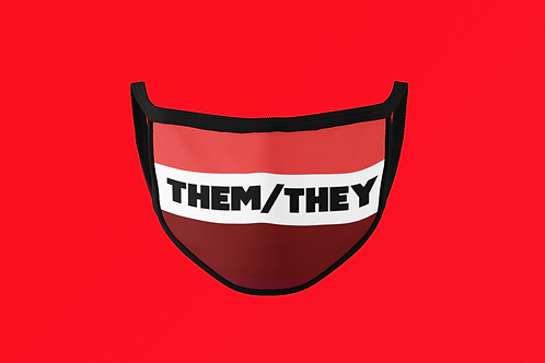 THEM/THEY RED  FACE MASK