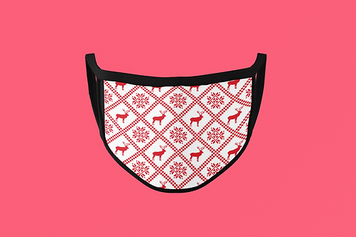 RED SWEATER PATTERN FACE MASK