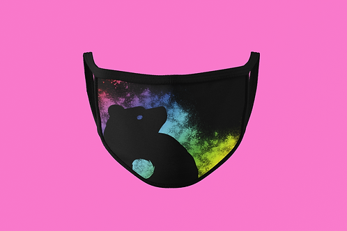 RAINBOW SPLATTER BLACK BRUCE FACE MASK