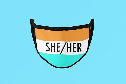 SHE/HER ORANGE & TEAL FACE MASK