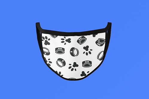 PUP PAW & BOWL ON WHITE FACE MASK