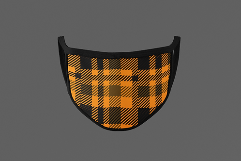 ORANGE & BLACK PLAID YELLOW FACE MASK
