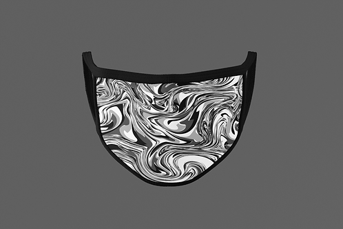 BLACK AND WHITE SWIRLED PAINT FACE MASK