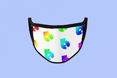 RAINBOW BRUCE THE BEAR (WHITE BACKGROUND) FACE MASK