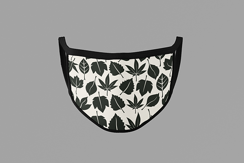 BLACK AND WHITE LEAF PATTERN FACE MASK