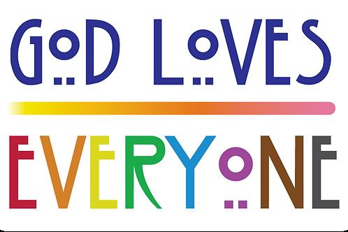 GOD LOVES EVERYONE STICKER