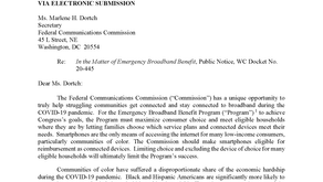 A Letter to the Federal Communications Commission regarding the EMERGENCY BROADBAND BENEFIT