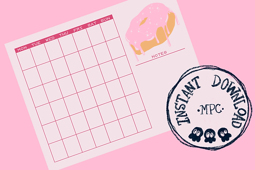 Monthly Donut Calendar with Notes