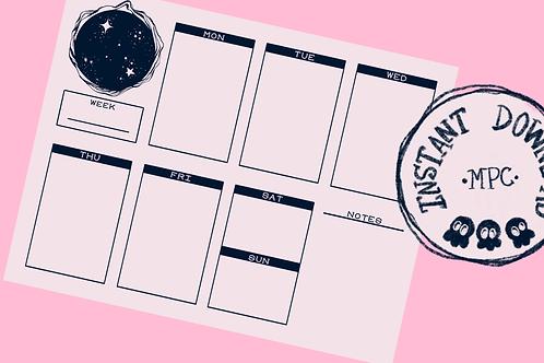 Weekly Galazy Planning Calendar