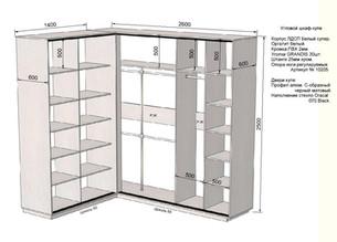 Проект углового наполнения шкафа-купе