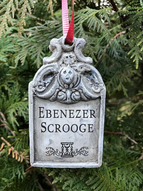 A Christmas Carol Tree Ornament. Ebenezer Scrooge Tombstone