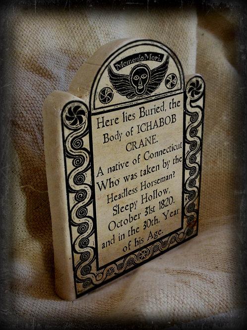 Gothic Literary Character Tombstone: Ichabod Crane.