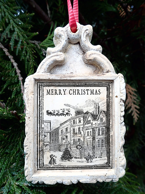 A Christmas Carol Tree Ornament. Victorian Street Scene