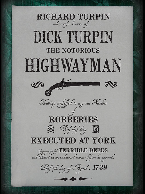 Public notice. The Execution of Dick Turpin. 1739.