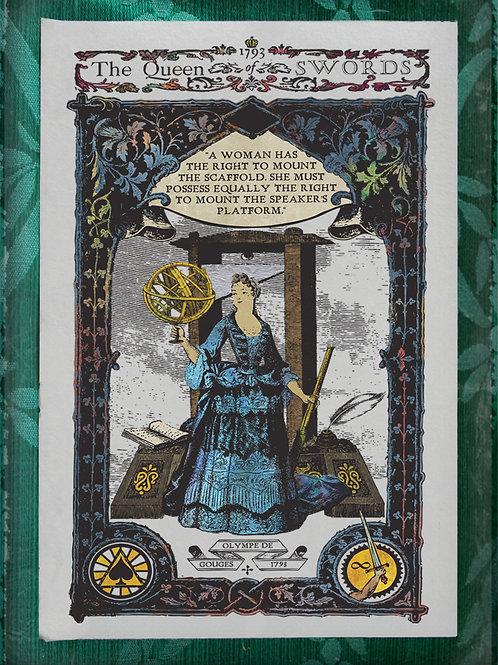 The Industrial Sublime Tarot: Queen of Swords (Olympe De Gourges)