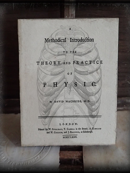 A Medical Introduction to the Theory and Practice of Physic. 1772. Wooden Plaque