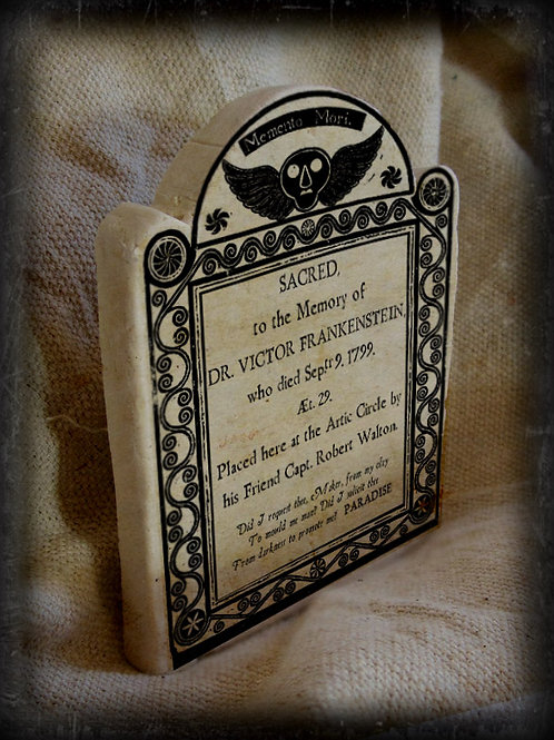 Gothic Literary Character Tombstone: Dr. Victor Frankenstein