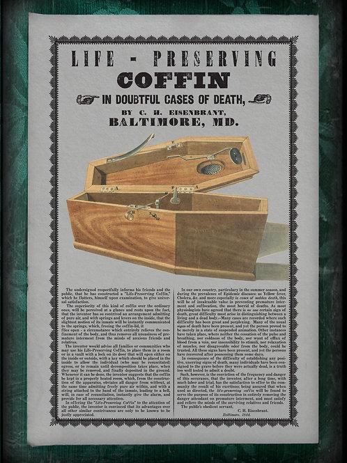 Eisenbrant's Life Preserving Coffin. 1843