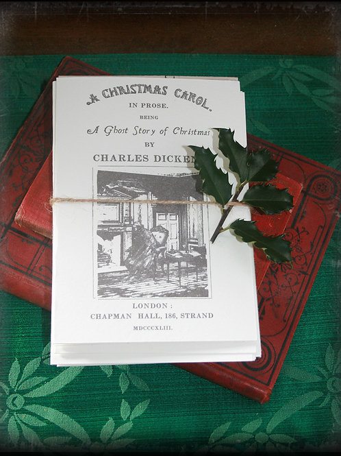 """A Christmas Carol Greeting Card. Complete Card Set with Handmade envelopes (5""""x7"""