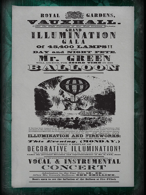 Vauxhall Gardens Balloon Accession. 1842