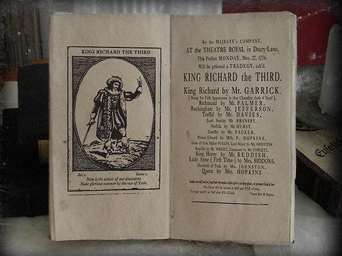 Richard the Third. Playbill. 1776