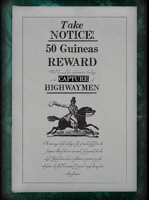 Public notice Broadside. The Capture of Highwaymen.