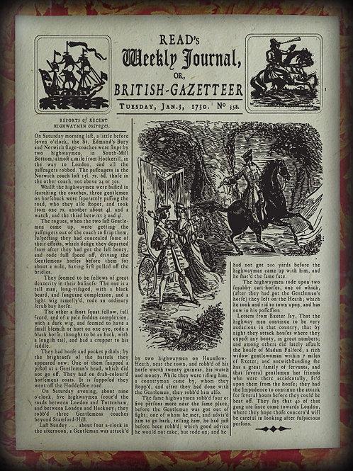 Read's Weekly Journal. Highwaymen News 1730.