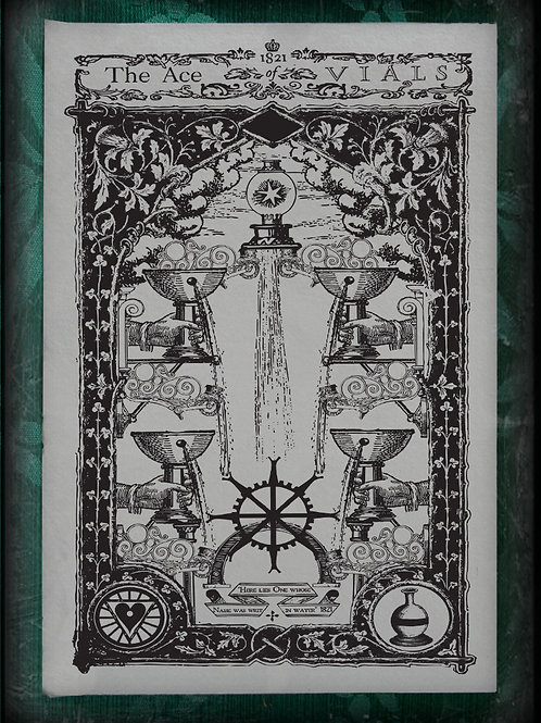 The Industrial Sublime Tarot: Minor Arcana: The Suit of Vials (Black and White)