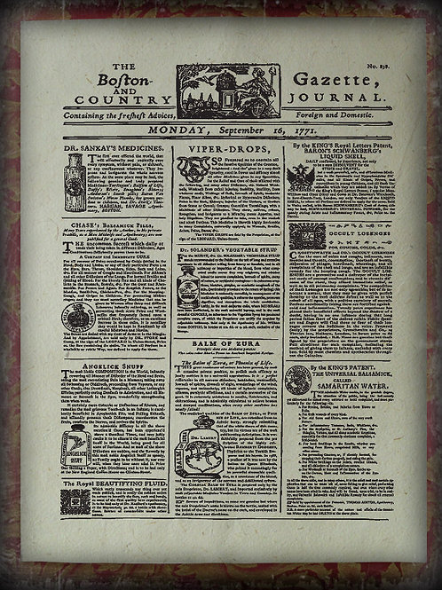 Advertisement for latest liquids, potions & pills. Boston and Country Gazette