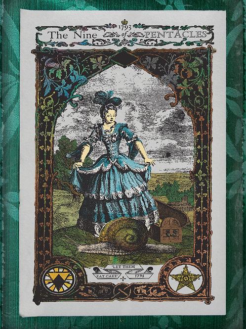 The Industrial Sublime Tarot: Nine of Pentacles (Marie Antoinette)