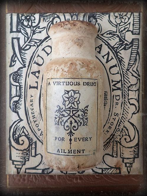 Dr. Stork's Laudanum 1753. Medicine Bottle Wooden Plaque