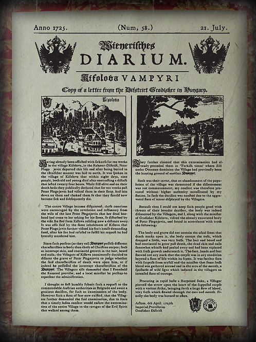 Wienerisches Diarium 'Vampyri. 1725