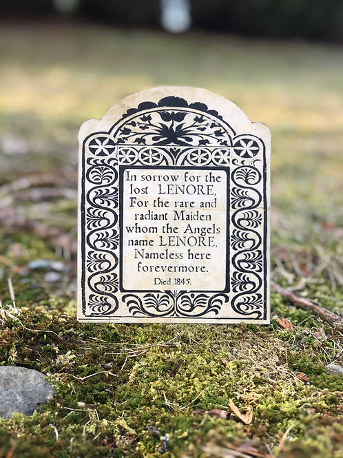 'Valentombs' Day Card: Edgar Allan Poe. Tombstone of Lenore