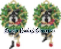 Schnauzer Black Silver Trimmed Wreath Earrings id 14512