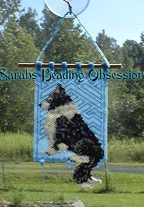 Black Border Collie Sun Catcher Mini Tapestry id 14581