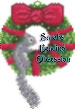Grey Squirrel Wreath Ornament id 14300