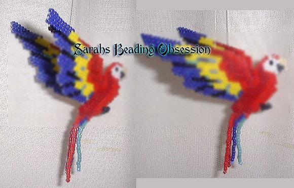 Scarlet Macaw Semi 3d Decoration id 3107