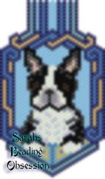 Black White Boston Terrier Keychain id 16588