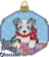 Blue Merle Aussie Shepherd Snowglobe Ornament id 14721
