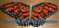 Red Monarch Butterfly Barrette lm/sq id 3283