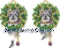 Schnauzer Salt Pepper Wreath Earrings id 14521