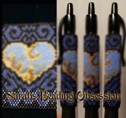Blue Gilded Heart Pen Cover id 15896