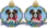Tri-Color Aussie Shepherd Snowglobe Earrings id 14716