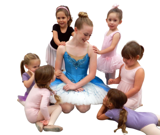 kids looking at a ballerina