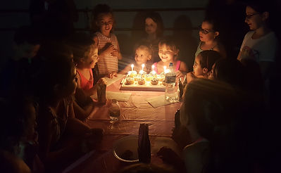 kids at a birthday party, signing happy birthday