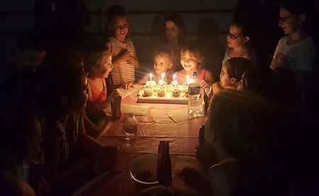 kids at a birthday party, singing happy birthday