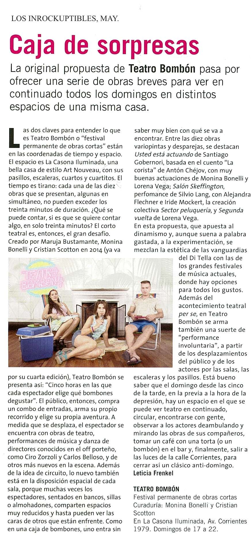 LOS INROCKUPTIBLES, MAY.