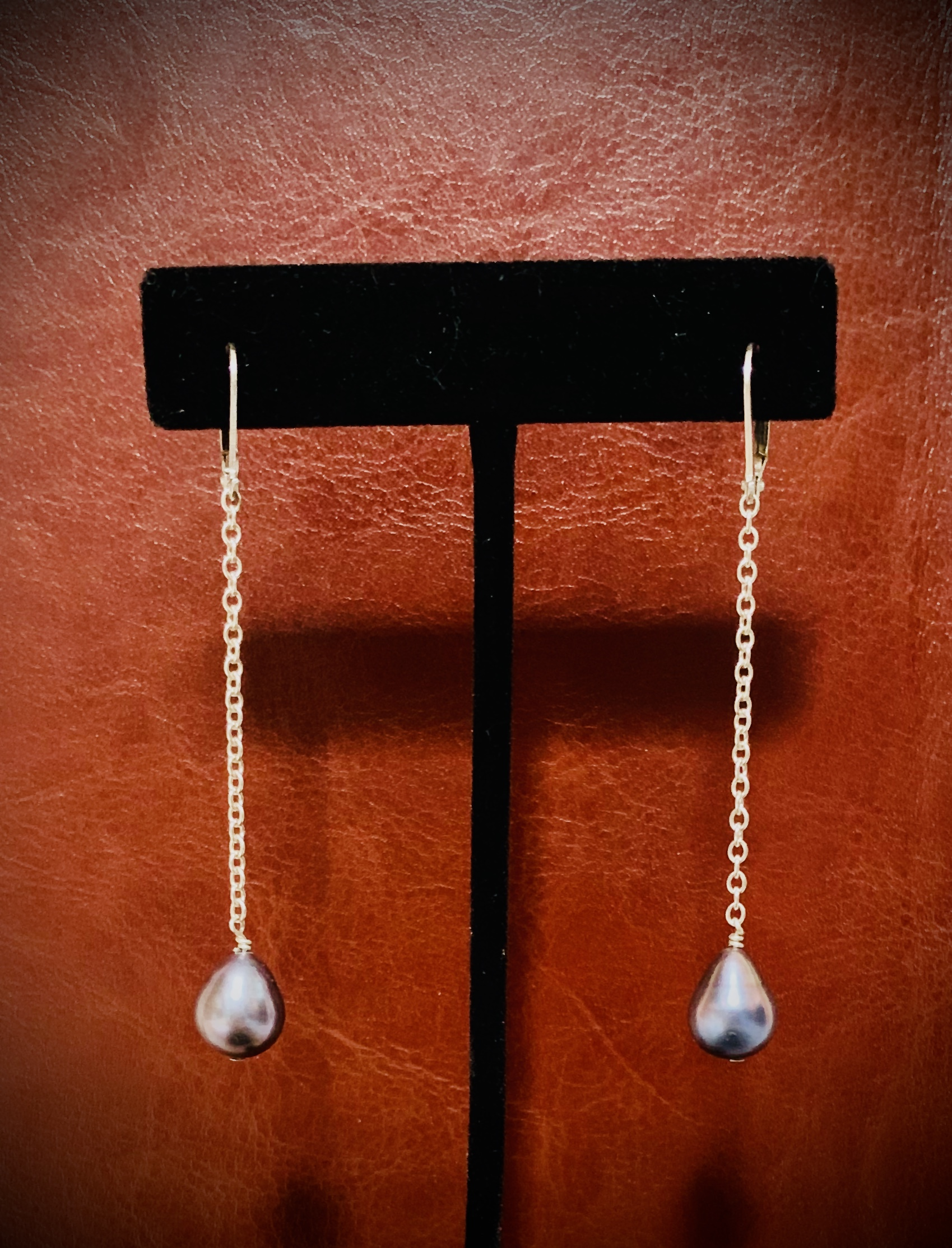 long pearl dangle ear- Jenny D